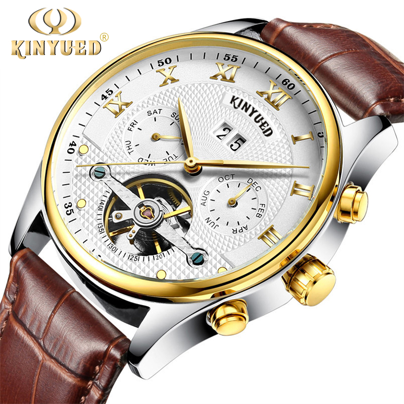 KINYUED Skeleton Watch Men Mechanical Automatic Watch Tourbillon Luxury Brand Men Wristwatch Brown Leather Strap Erkek Kol Saati<br>