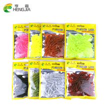 Hengjia 50pcs isca Artificial soft fishing lure T fish Worm shad lure Swim bait blackfish culter Striped bass fishing tackle(China)