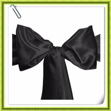 Good quality& Hot selling !! 7*108'' Black Wedding Satin chair sashes Chair bows for banquet chair decor Factory price(China)
