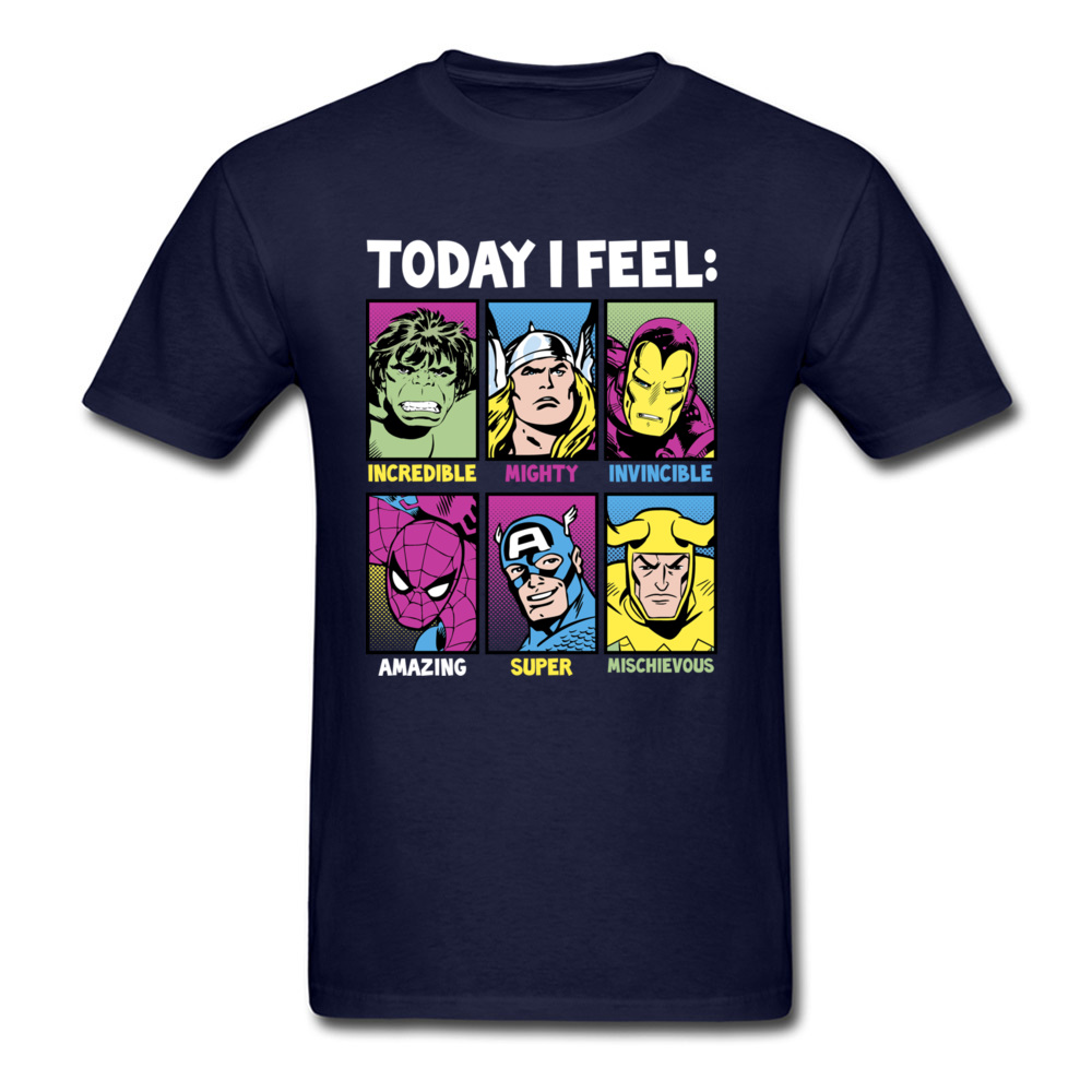 Star Wars Today I Feel Marvel Heroes T Shirts Funky Mens Summer/Autumn Tops Tees Casual Top T-shirts Crewneck 100% Cotton Fabric Today I Feel Marvel Heroes navy