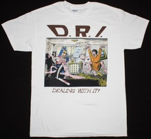 Crew Neck Short Sleeve Christmas Mens D.R.I. Dealing With It Crossover Suicidal Tendencies S.O.D. New White Shirt