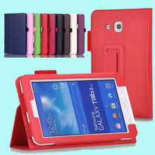 Hot sale Lichee Flip Stand pu leather BOOK Cover capa para for Samsung GALAXY Tab 3 Lite T110 T111 tablets & Books case + pen