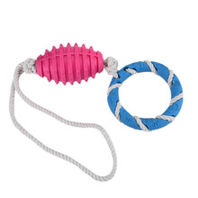 1Pcs TPR + Cotton Pet Dentist Rubber Tyre Toy Dental Care Chew Flosser Gum Care Pet Cotton Rope Toy Pet  Dog Toy Rugby Ball