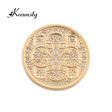 Keamsty Top Sale Gold Tone Lotus Peaceful Coin fit with Large Coin Holder Beautiful Women Necklace Accessory Meanful Gift