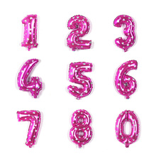 30cm Large Pink Aluminum Foil Number Balloon DIY Custom Digit Air Balloons Evening Birthday Day Party Figure Love Airballoon Big(China)