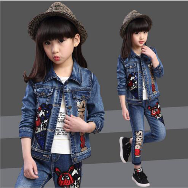 Baby girls sets Children clothes kids fashion jeans cowboy style outwear sets for spring autumn kids clothes set 7-15 years<br><br>Aliexpress