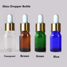 50PCS Essential Oil Glass Bottles with Dropper Pipette ,Small Glass Bottle Botella De Aceites 5ml 10ml Green Blue Brown Color(China)