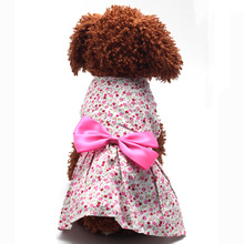 New Puppy Pet Doggie Floral Flower Dress Skirt Bowknot Princess Cachorro Mascotas Clothes Clothing