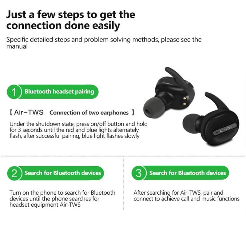 Bluetooth Headset Mini Wirelee Bluetooth Headphone Stereo Earphones Headphones with Charge Box for Iphone X Iphone 8 7 6s Xiaomi