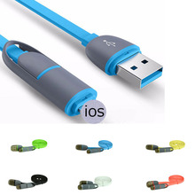Hot Selling High quality Micro USB  2in1 Sync Data Charger Cable for iPhone ipad General for Android Phone Accessories
