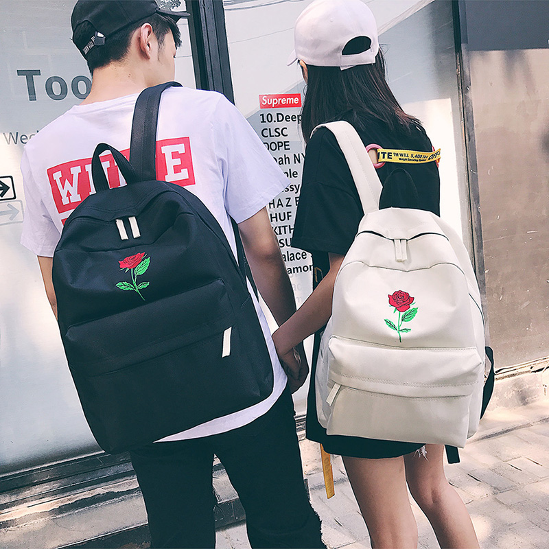 Men Canvas Backpack Cute Fashion Women Rose Embroidery Backpacks for Teenagers Women's Travel Bags Mochilas Rucksack School Bags (38)
