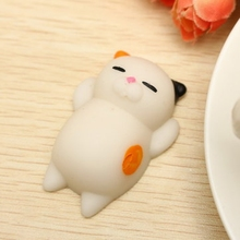 Mochi Cat Kitten Phone Straps Soft Toy Rubber Decompression Cartoon Simulation Cellphone Charm Slow Rebounding Pendant(China)