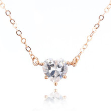Gold White AAA Zircon Rhinestones  Heart Necklace Real Pure 925 Sterling Silver pendent necklace Women Fashion Jewelry