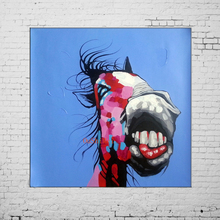 Handmade Blue Paintings Abstract Funny Animals Picture Modern Landscape Horse Painting On Canvas Pictures Wall Art Oil Painting