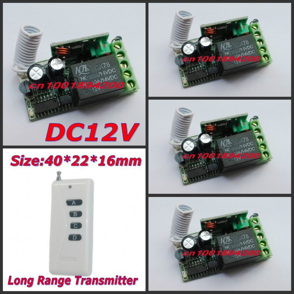 12V Wireless Switch 1000M RF Wireless Remote Controller  4 Receiver 1 Transmitter Mini M4/T4/L4 adjusted add controller freely<br>