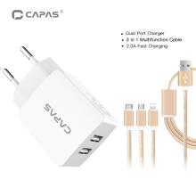 5V 2A USB Charger for Tablet Mobile Phone EU Dual Wall Charger Adapter with 3 in 1 Nylon Fast Charging Cable for iPhone Android
