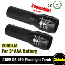 78 off Powerful flashlight Lanterna led Torch 2000 lumen Zoomable mini LED Flashlight tatica light lantern bike light(China)