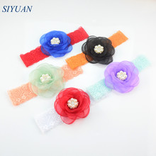 17pcs/lot Mixed Color Transparent Burned Silk Rose Flower Headband Elastic Lace Headwrap Newborn kids Hair Accessories FD211(China)