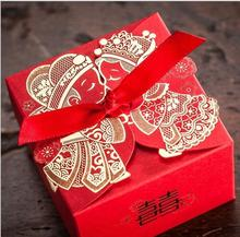 2017 Cheap Wedding Favor Boxes with Ribbon Red Chinese Wedding Candy Box Casamento Wedding Favors And Gifts Boxes