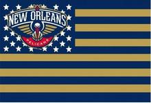 New Orleans Pelicans USA star stripe NBA Premium Team basketball Flag 3X5FT sports decorative digital printing free shipping