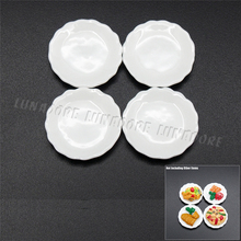 Odoria 1:12 Miniature 4PCS White Porcelain Dishes Ceramic Plates Kitchenware Dollhouse Kitchen Accessories(China)