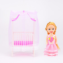 1PC Doll Bed+1PC Kelly doll Cute Baby Dolls Furniture  Accessories For Barbie Baby Doll Best Toys for Children