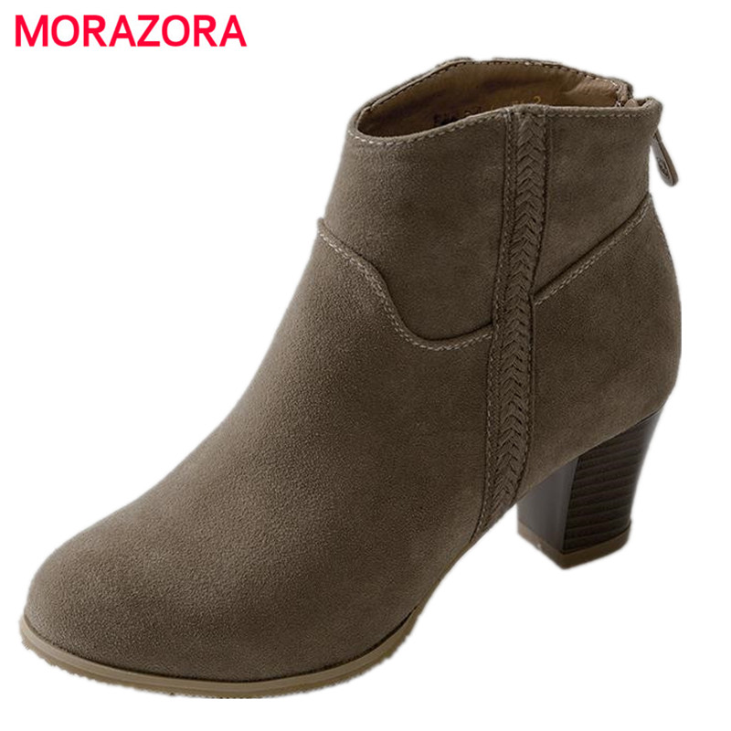 MORAZORA 2017 Spring Autumn new PU nubuck leather zip boots square heel shoes fashion ankle boots for women big size 34-44<br>