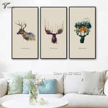 Large Art Print Poster Wall Pictures Abstract Watercolor Animal Deer Decoration Canvas Painting No Frame Home Office Decor Ideas