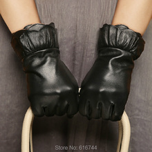 Women's Genuine Lambskin Leather Gloves Silk Lined Flounce Black S M L New(China)