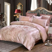 Deep pink flowers jacquard 4pcs queen king bedding sets luxury silk quilt duvet covers quality bed clothes bedsheet pillowcase(China)