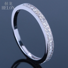HELON Fine Diamonds Ring MILGRAIN Pave Setting Solid 10K White Gold Natural Diamonds Wedding Engagement Ring Jewelry Women(China)