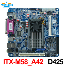 Cheap industrial embedded motherboard ITX_M58_A42 support Intel D425/1.66GHz single core CPU with 8*USB/2*COM /1*VGA(China)