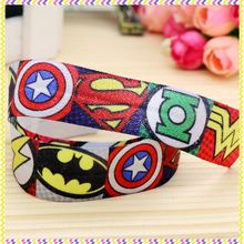 1'' Free shipping Elastic FOE super heros printed headband headwear hair band diy decoration wholesale OEM P3711