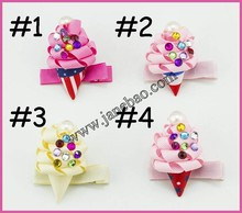 free shipping 30pcs sculpture hair clippie fruit hair clips summer hair bows ice cream watermelon pineapple cherry strawberry h(China)