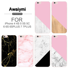 NEW Marble For iPHONE 6 Case Pink Wood Grain Marble Soft TPU Cover Case For iPHONE 5 5S 6 6S 7 7PLUS 6PLUS 6S PLUS 5C 4 4S