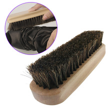 Wooden Handle Shoes Shine Brush Polish Bristle Horse Hair Buffing Brush (with LOGO)