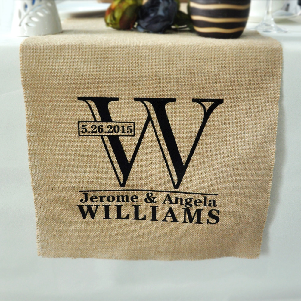 Personalized Table Runner-Rustic Wedding Decor Burlap Table Runner Custom Linens - Wedding Gift(China (Mainland))