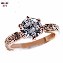 KUNIU Fashion Jewelry Wedding Ring women's Shiny silver Jewelry Engagement Ring Gold Silver Color Size 6-10 ring for gift