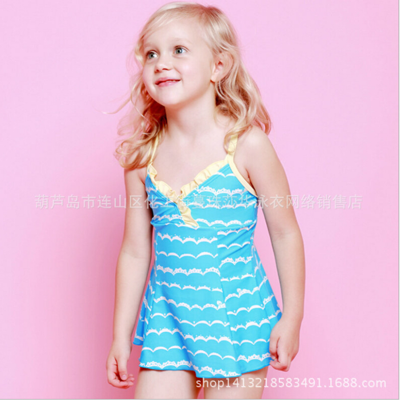 2016  Girl Print Striped One-pieces Swimsuits Lovely Child Hammock Beach Wear Baby Bathing Suits Set Thongs Trajes De Bano EF641<br>