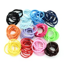 100pcs/lot 3 cm 12 colors Boutique Elastic Hair Tie Rope Hair Band bows Hair Accessories For Girls 694(China)