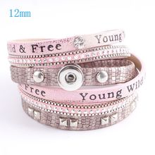 Partnerbeads 40cm snap button PU leather bracelets fit 12mm snaps with pink plated accessories and charm KS0605-S