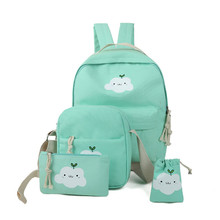 ChinKar 2017 New Fashion Women Bag Set Clouds Printed Girls Backpacks Schoolbags Shoulder Bag Clutch Four-piece Fitted Backpack