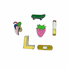 Fashion Cute Cartoon Skateboard Band-Aid cigarette Strawberry Banana Brooch Pins Badge Jeans Clothes Decoration Jewelry For Girl(China)