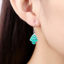 Christmas trees green Sweet kids Child style earrings 925 real silver e835 Girls Jewelry enamel process Brincos de Prata