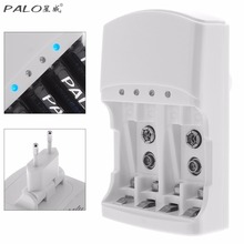 PALO 4 Slots Quick Battery Charger for AA / AAA / 9v / Ni-MH / Ni-Cd Batteries Support Different Battery Mixed Charging(China)