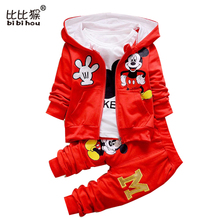 3pcs/set Autumn Boys Minnie gift Cartoon Girls toddler Clothes Suits Kids T Shirts Pants jacket Children Sport Sets baby clothes(China)