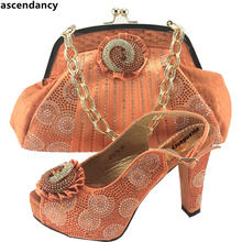 Latest Orange Color Italian Shoes and Bag Set Decorated with Appliques african Women Shoes and Bags To Match Shoes with Bag Sets(China)