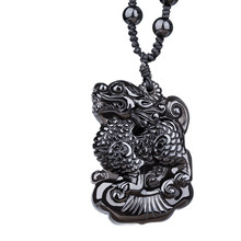 KYSZDL Natural obsidian carving unicorn pendant male and female auspicious black crystal pendant jewelry free necklace rope(China)