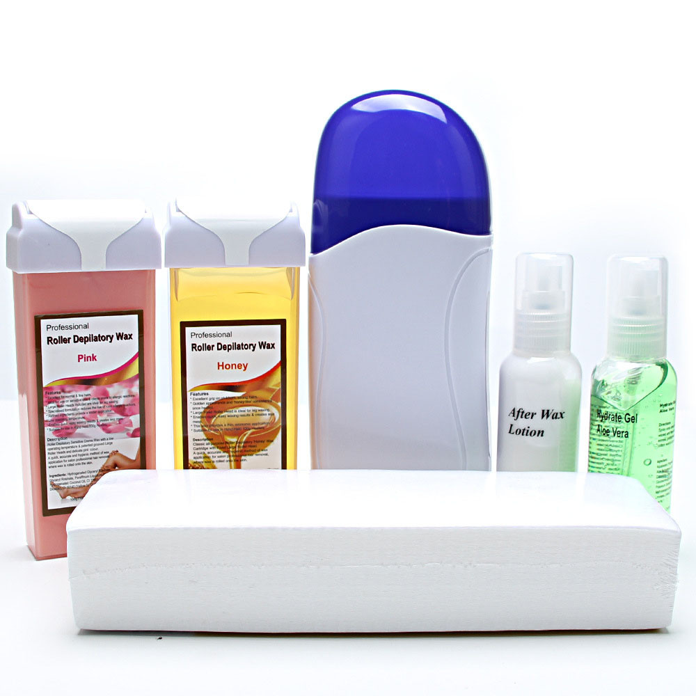 Best Deal Roll On Cartridge Depilatory Heater Wax Waxing Paper Strips Kit Hair Removal Set<br>