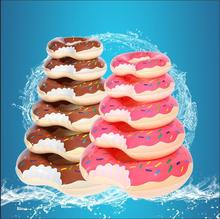 Donuts thickening PVC swimming ring adult child ring armpit Pink Chocolate bunts inflatable swimming ring